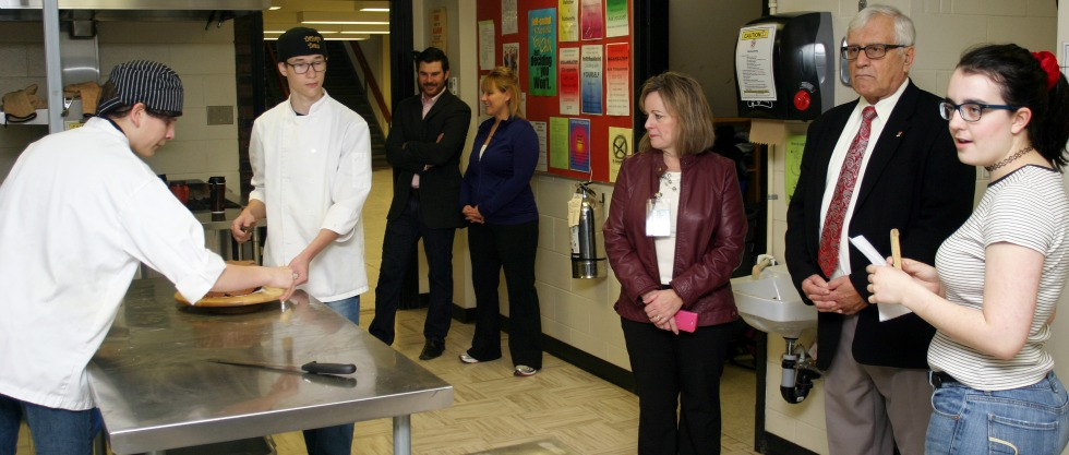 Pembroke Mayor Michael LeMay and Coun. Andrew Plummer visit FHS' restaurant-grade kitchen during a tour of the school