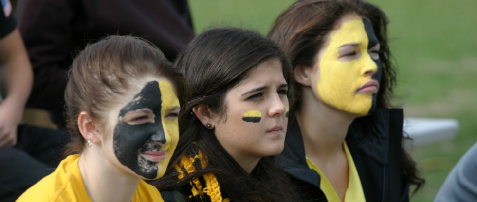 Fellowes students cheer on the Falcons as the senior football team plays the RCI Raiders on Friday, Oct. 3